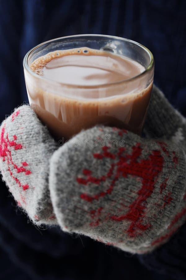 Läckra tjocka varm choklad- och rät maskatumvanten royaltyfria foton