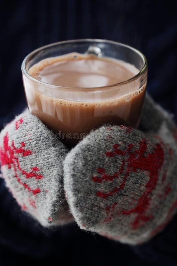 Läckra tjocka varm choklad- och rät maskatumvanten royaltyfria bilder