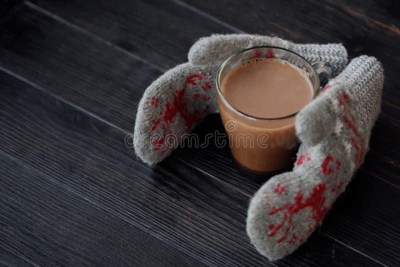 Läckra tjocka varm choklad- och rät maskatumvanten arkivfoto