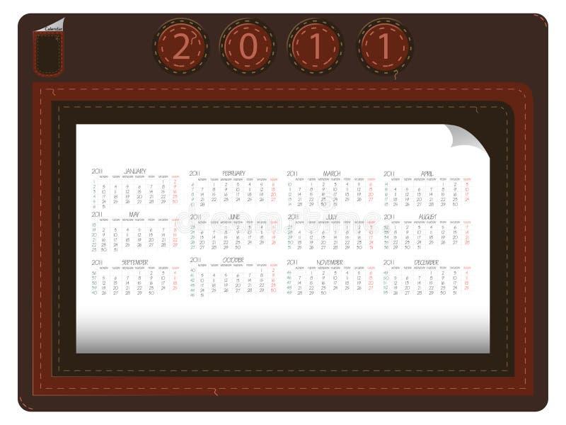 läder för 2011 kalender vektor illustrationer