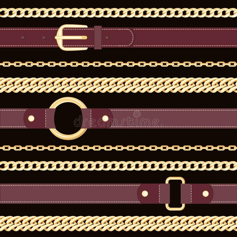 Läderbälten och guld- kedjor på sömlös modell för svart bakgrund royaltyfri illustrationer