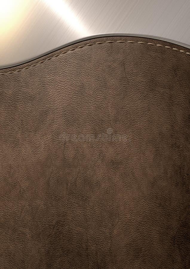 Läderbruntet och borstat belägger med metall royaltyfri illustrationer
