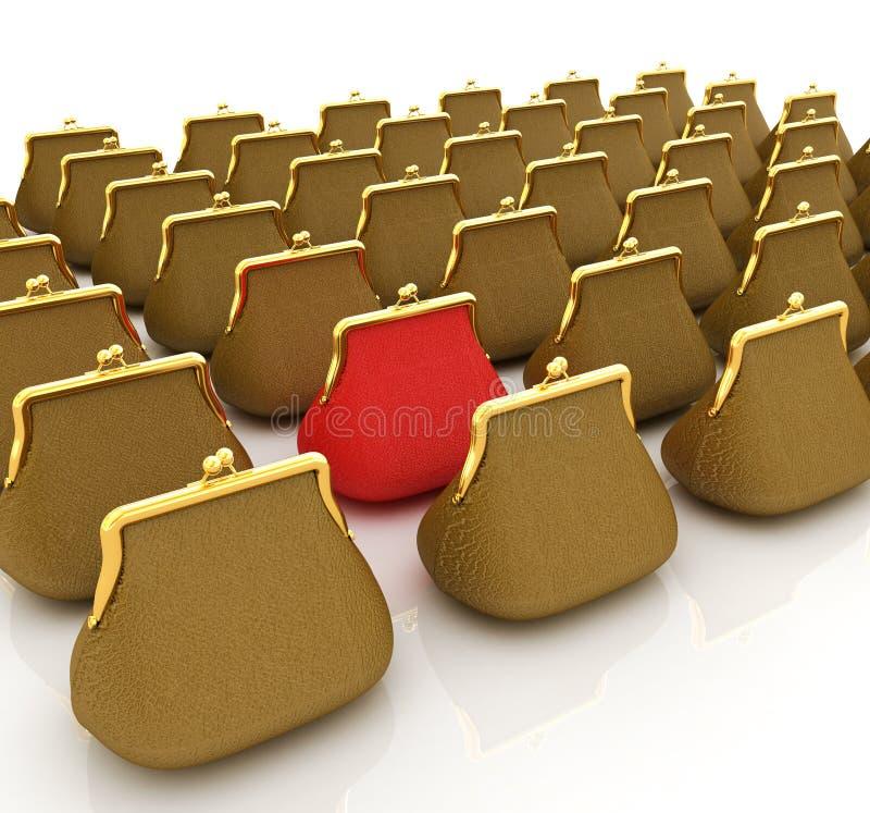 Läderhandväska. Investeringbegrepp stock illustrationer