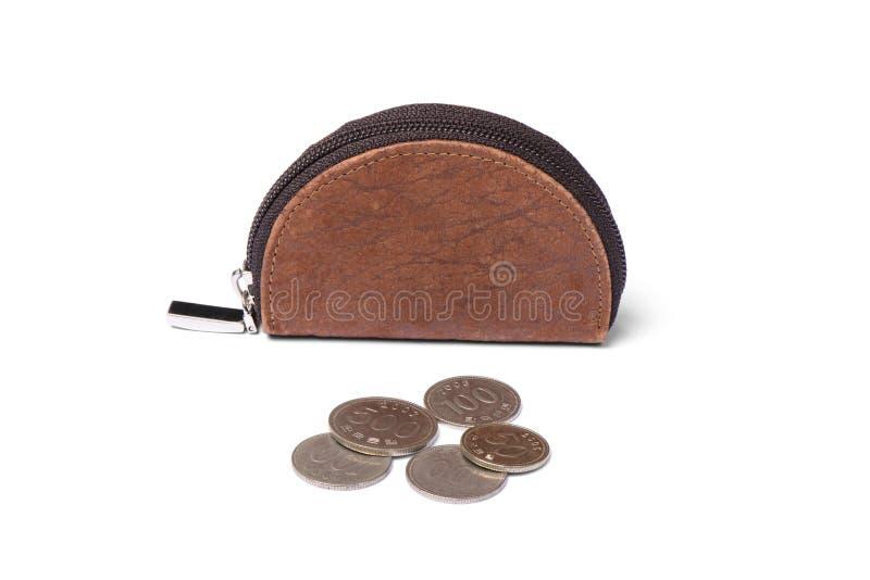 Läderhandväska med mynt royaltyfria bilder