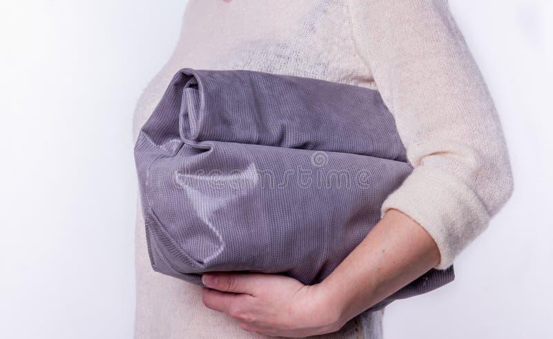 Läderhandväska på en vit bakgrund royaltyfria bilder