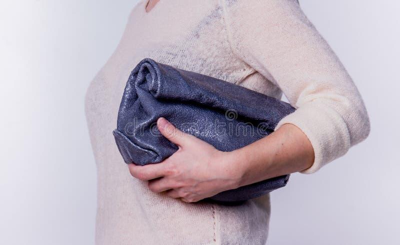 Läderhandväska på en vit bakgrund royaltyfria foton