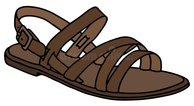 Läderkvinnas sandal royaltyfri illustrationer