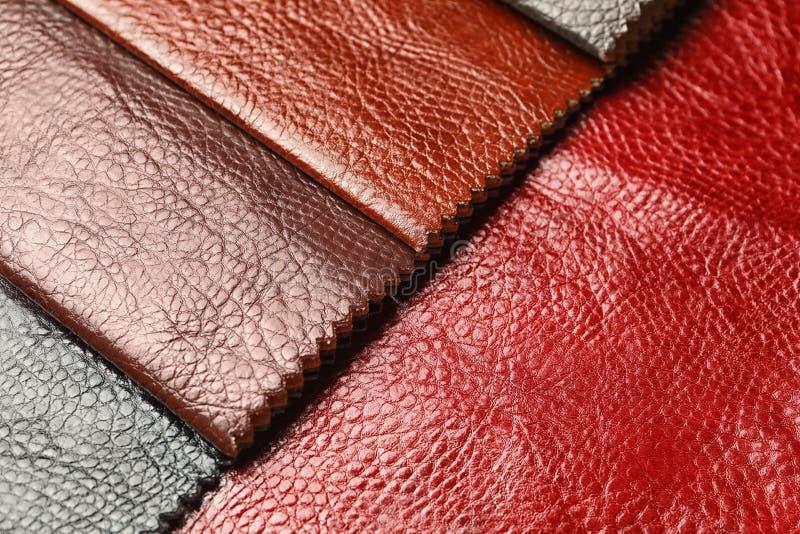 Läderprövkopior av olika färger för inredesign royaltyfria bilder