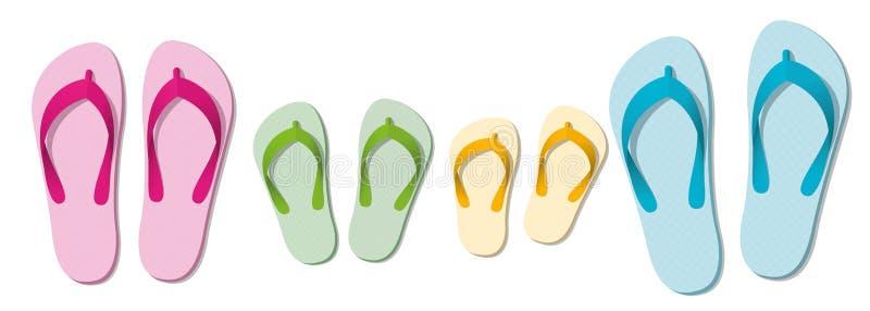 Läderremmar för ferie för sandalfamiljstrand vektor illustrationer