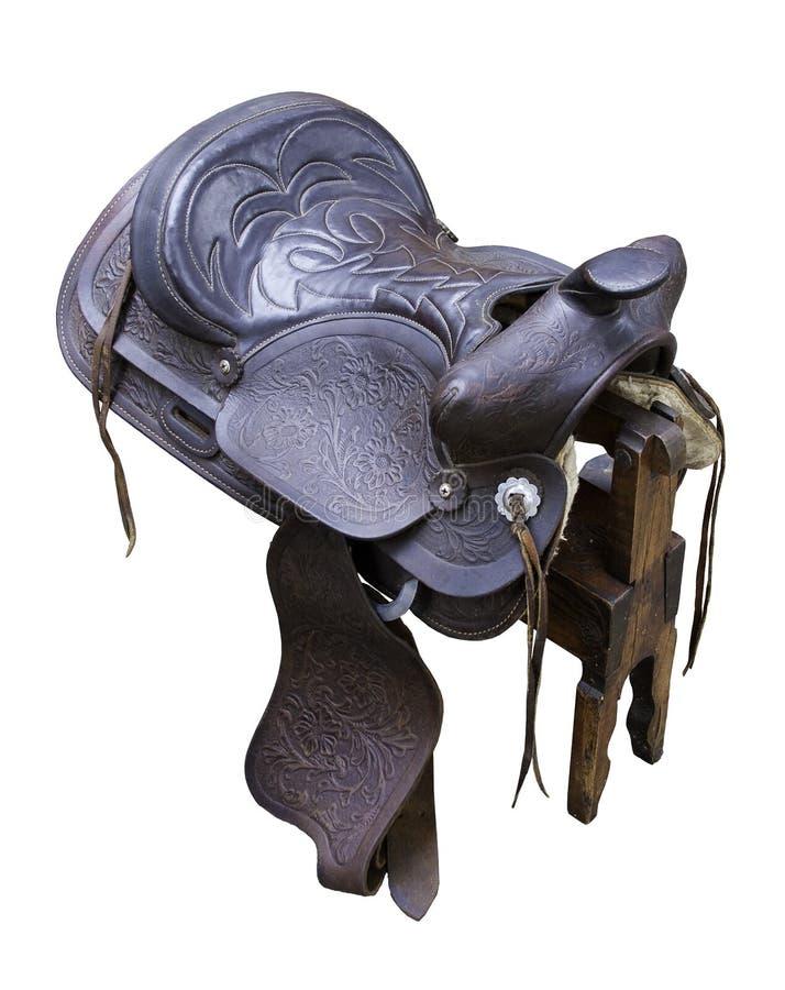 lädersadel royaltyfri fotografi