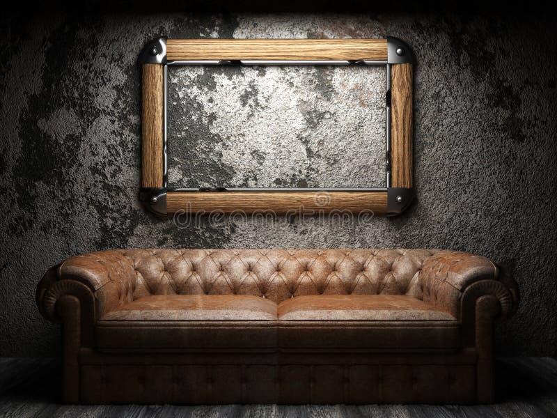 Lädersofa och ram i mörk lokal stock illustrationer