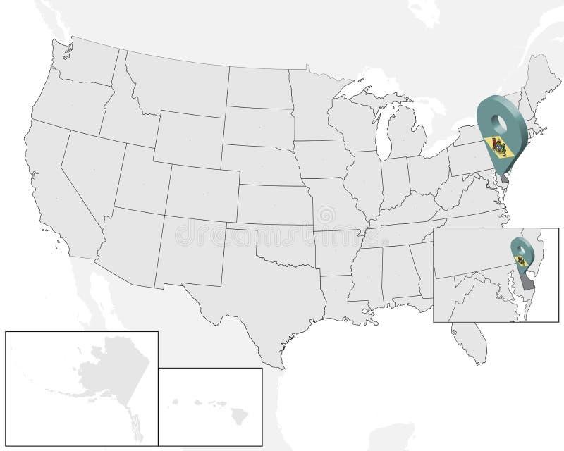 Lägeöversikt av tillståndet Delaware på översikten USA för Delaware för tillstånd 3d stift för läge för markör för översikt flagg royaltyfri illustrationer