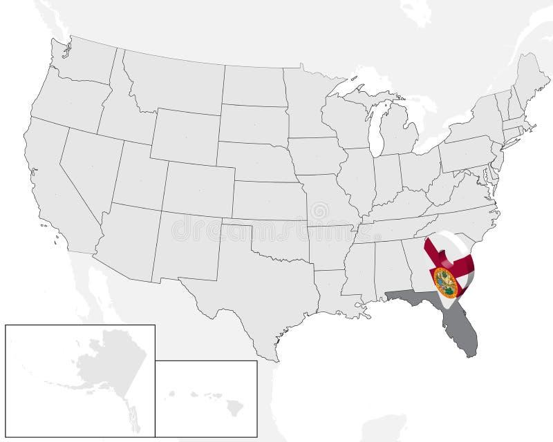 L?ge?versikt av tillst?ndet Florida p? ?versikten USA f?r Florida f?r tillst?nd 3d stift f?r l?ge f?r mark?r f?r ?versikt flagga  royaltyfri illustrationer