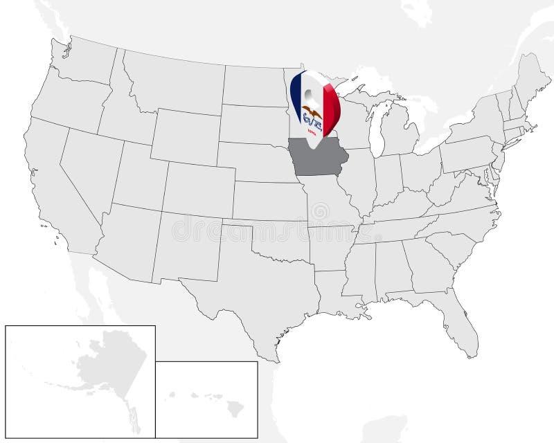 Lägeöversikt av tillståndet Iowa på översikten USA för Iowa för tillstånd 3d stift för läge för markör för översikt flagga Högkva vektor illustrationer