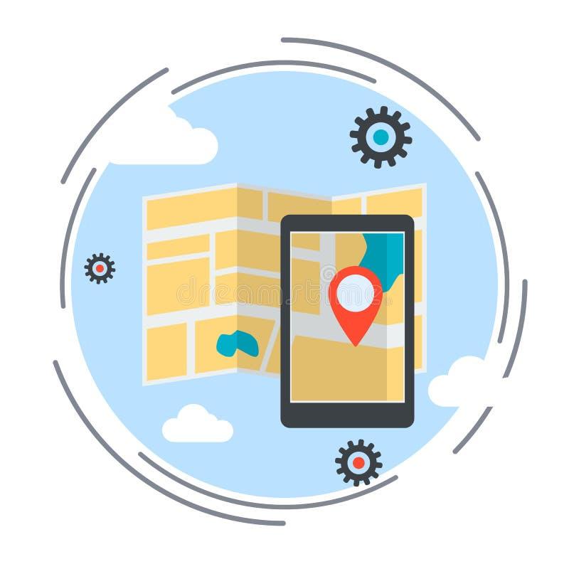 Lägeöversikt, rutt, illustration för vektor för GPS navigeringservice royaltyfri illustrationer
