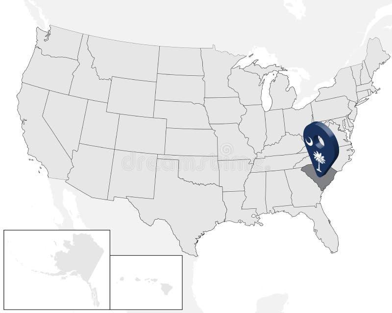 Lägeöversikt South Carolina på översikten USA Amerika tillst?nd f?renade tecken för geolocation 3d som flagga av tillståndet Sout royaltyfri illustrationer