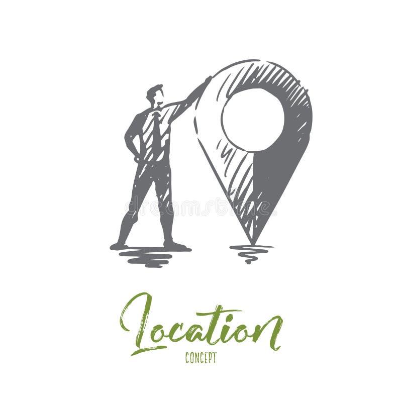 Läge översikt, lopp, GPS, navigeringbegrepp Hand dragen isolerad vektor vektor illustrationer