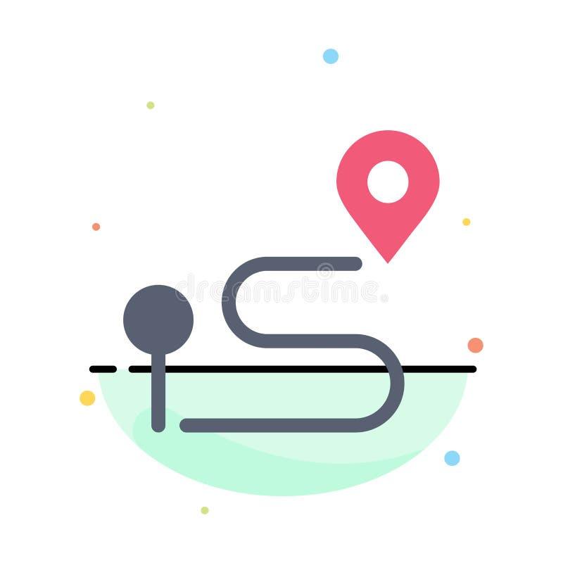 Läge översikt, navigering, Pin Abstract Flat Color Icon mall stock illustrationer