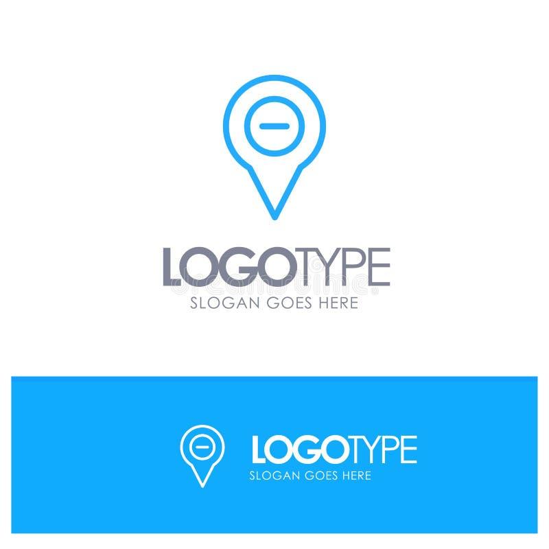 Läge översikt, navigering, stift, negativ den blåa översikten Logo Place för Tagline stock illustrationer