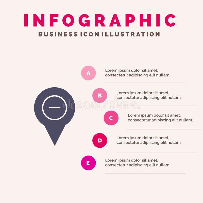 Läge översikt, navigering, stift, negativ fast bakgrund för presentation för symbolsInfographics 5 moment stock illustrationer