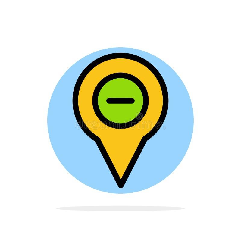 Läge översikt, navigering, stift, negativ symbol för färg för abstrakt cirkelbakgrund plan royaltyfri illustrationer