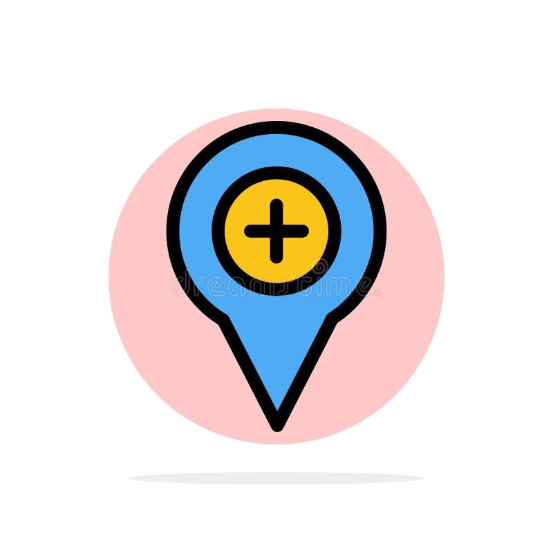 Läge översikt, navigering, stift, plus symbol för färg för abstrakt cirkelbakgrund plan stock illustrationer