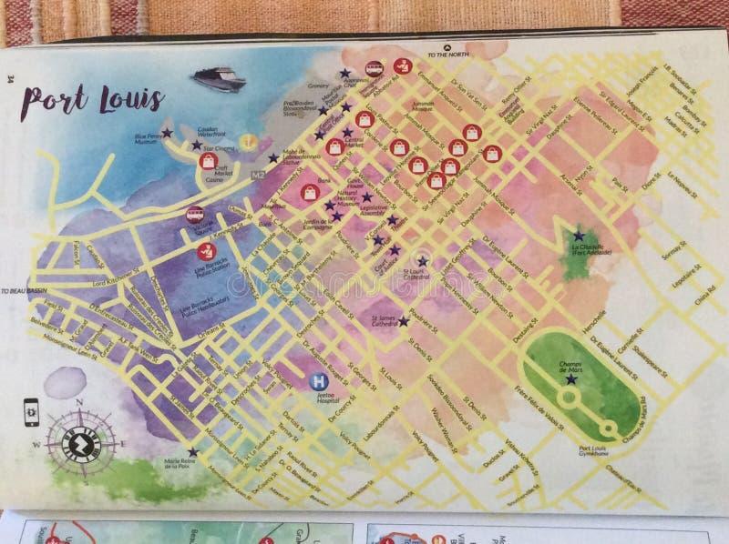 Läge av att intressera objekt på intrigen av mitten av huvudstaden av Mauritius Port Louis arkivfoto