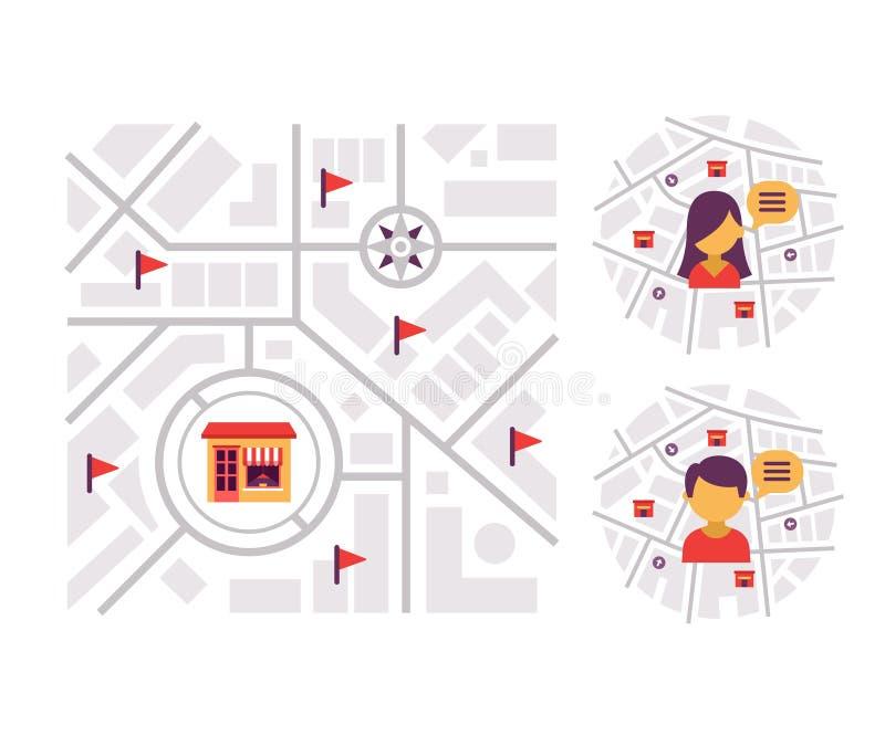 Läge-baserad marknadsföring royaltyfri illustrationer