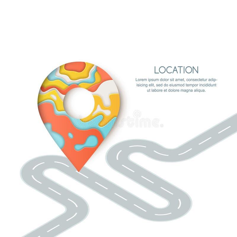Läge för vägväg och GPS navigering Papperssnittillustration av stiftöversiktssymbolet, waypointmarkören och den slingriga vägen stock illustrationer