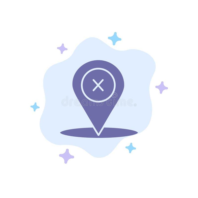 Läge navigering, ställe, blå symbol för borttagnings på abstrakt molnbakgrund royaltyfri illustrationer