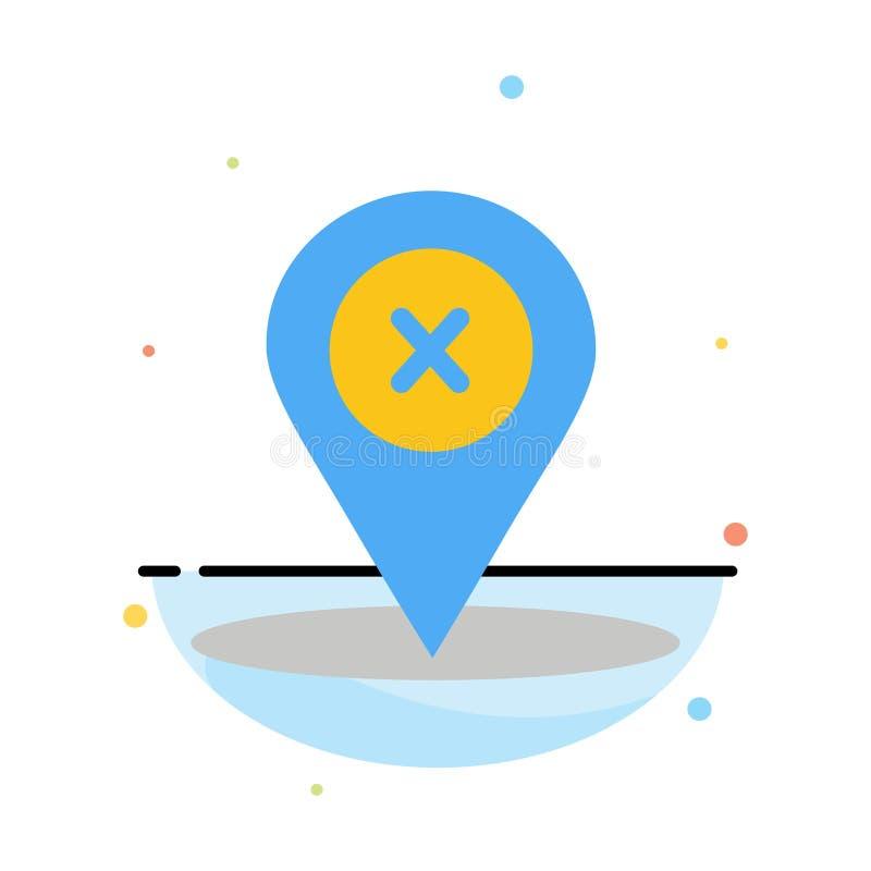 Läge navigering, ställe, för färgsymbol för borttagnings abstrakt plan mall royaltyfri illustrationer