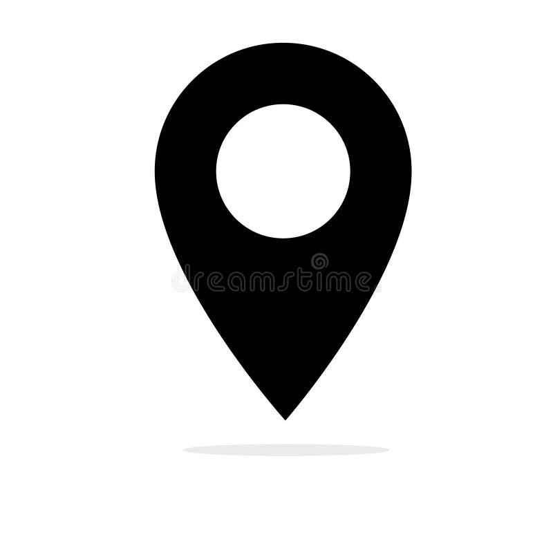 Läge Pin Vector Icon Svart rund symbol för vektor för Geo lägestift royaltyfri illustrationer