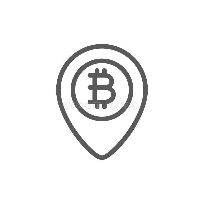 Lägefläck med bitcoinmyntet, blockchainlinje symbol stock illustrationer