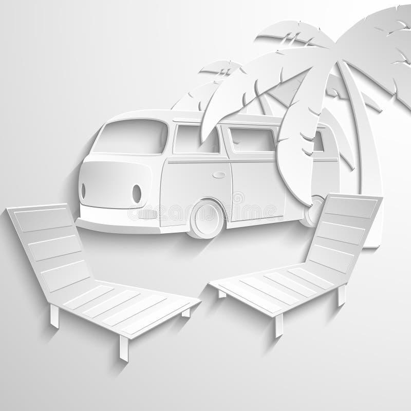 Lägenhet 3d för semester för affärsföretag för strand för hippieskåpbillopp vektor illustrationer