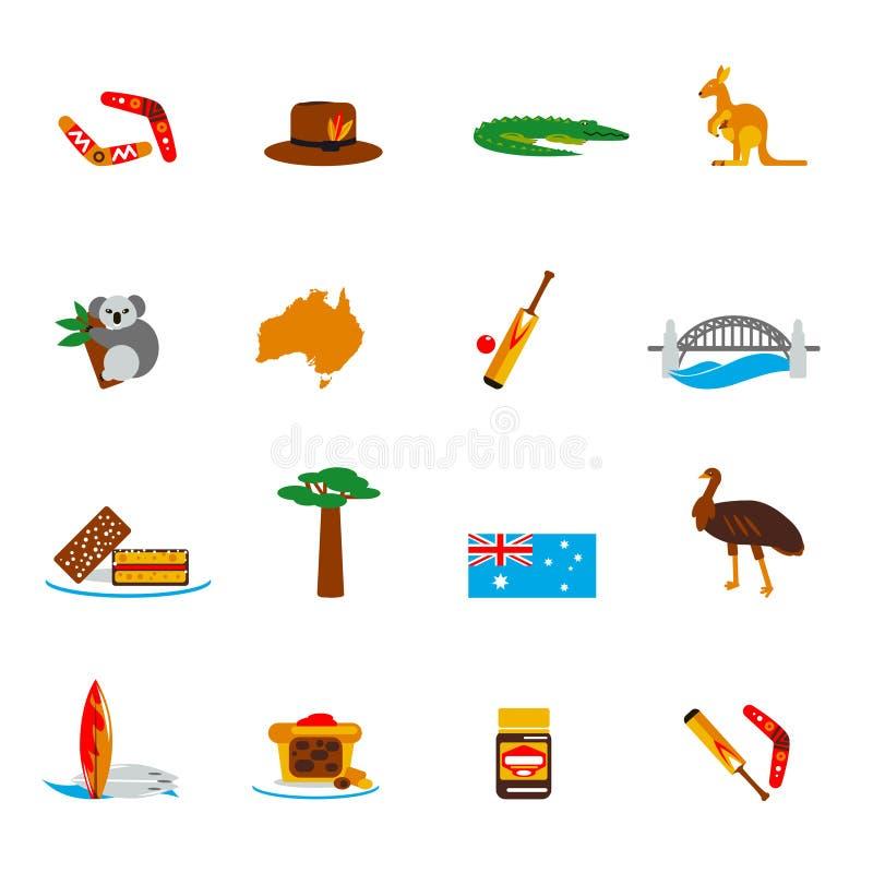 Lägenhet för Australien symbolsuppsättning royaltyfri illustrationer