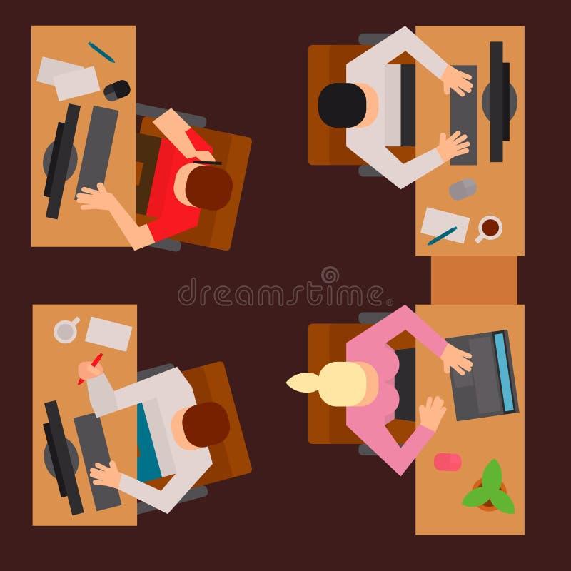 Lägenhet för bästa sikt för tabell för arbetare för rengöringsduk för begrepp för kontor för process för arbete för lag för folk  stock illustrationer