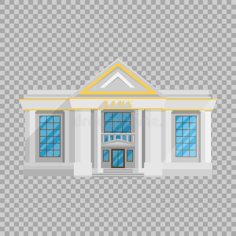 Lägenhet för bankbyggnad i stil på en genomskinlig bakgrundsvektorillustration Institutionen som rymmer pengar stock illustrationer