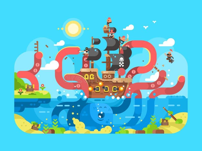 Lägenhet för design för Kraken skeppvaskar stock illustrationer