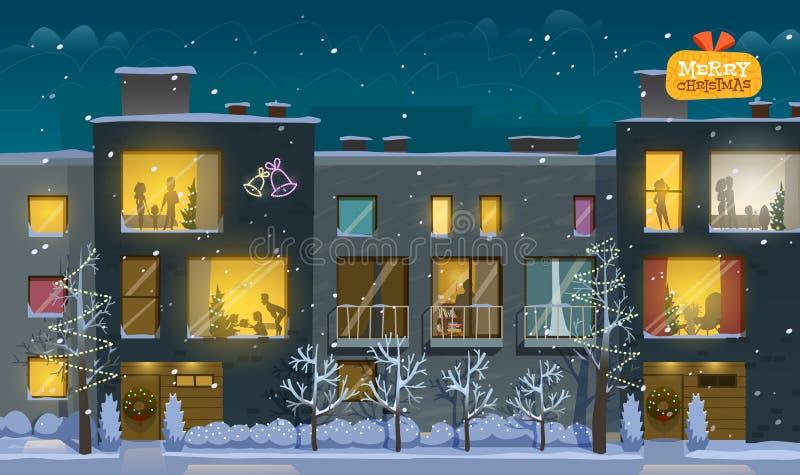 Lägenhet för glad jul royaltyfri illustrationer