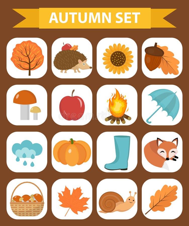 Lägenhet för höstsymbolsuppsättning eller tecknad filmstil Samlingsdesignbeståndsdelar med gulingsidor, träd, champinjoner, pumpa vektor illustrationer