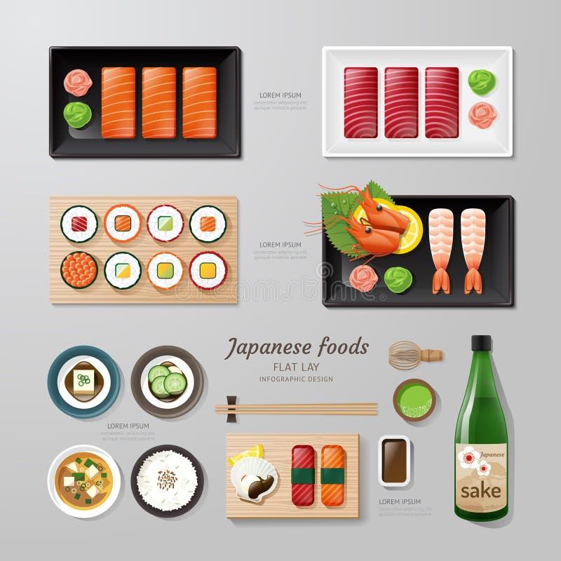 Lägenhet för Infographic lekmanna- idé för japansk foodsaffär vektor illustrationer