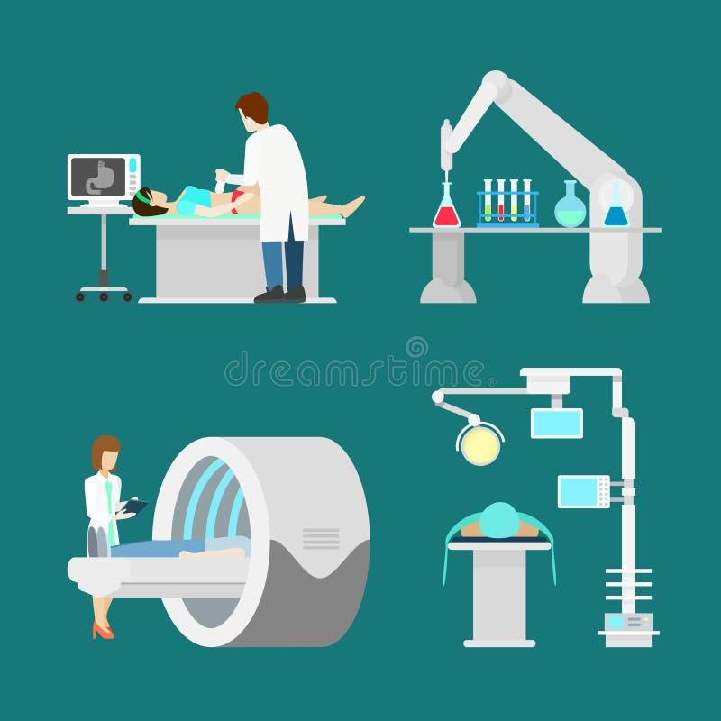 Lägenhet för kopiering för magnetisk resonans för MRI USA ultraljuds- stock illustrationer