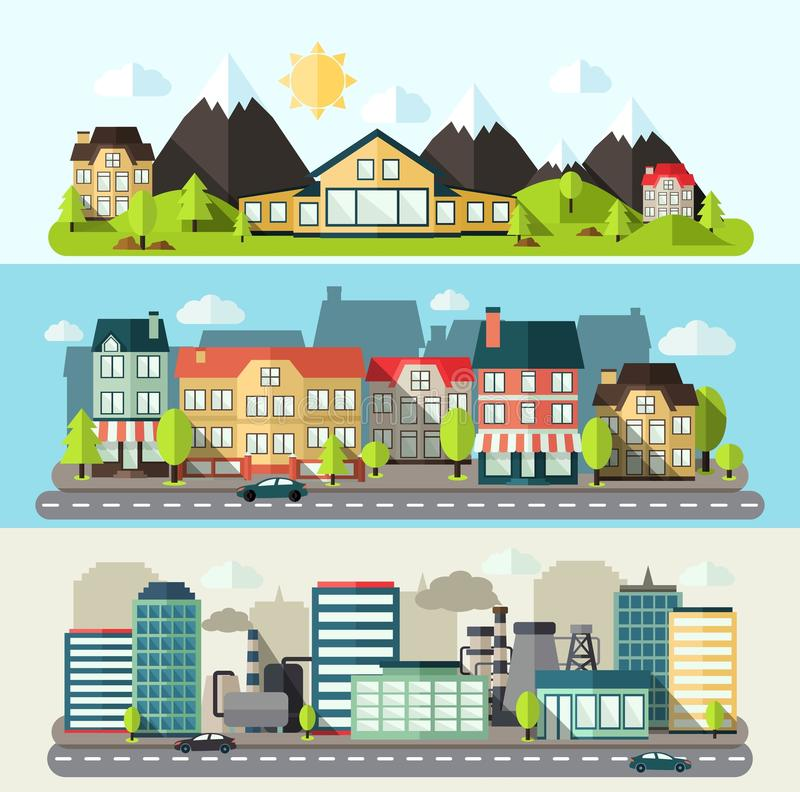 Lägenhet för landskapstadsbaner stock illustrationer