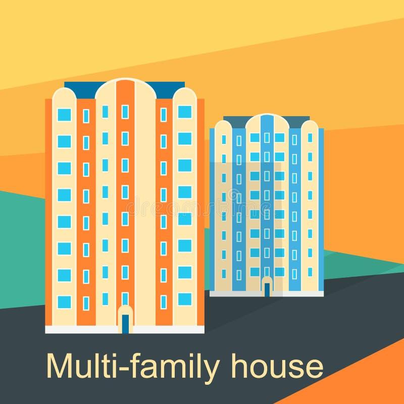 Lägenhet för Mång--familj husdesign royaltyfri illustrationer
