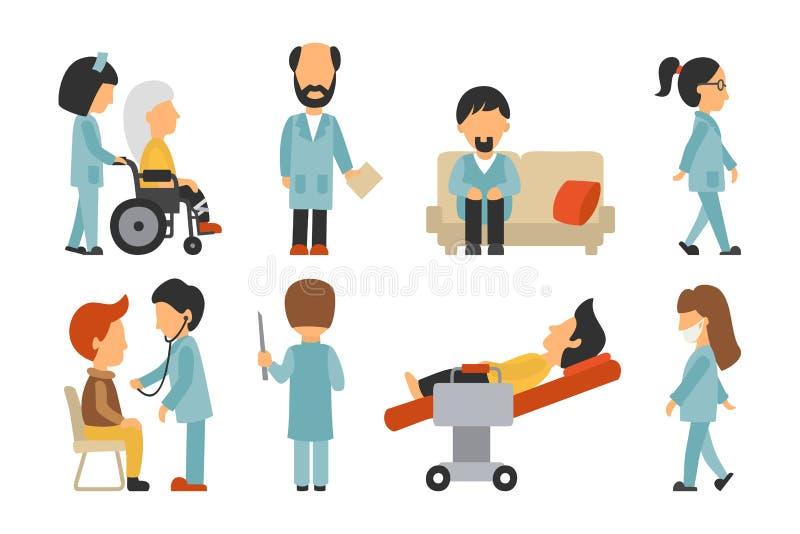 Lägenhet för medicinsk personal som isoleras på vit bakgrund, doktor, sjuksköterska, omsorg, folkvektorillustration, redigerbart  vektor illustrationer