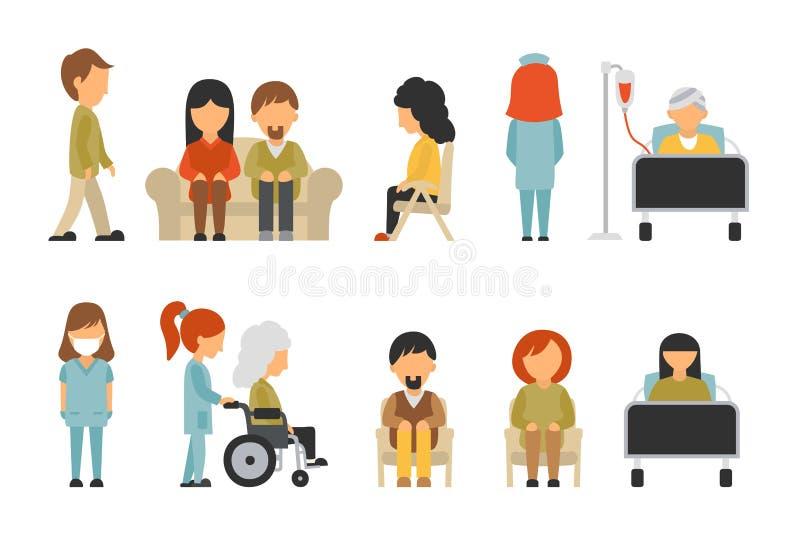 Lägenhet för medicinsk personal som isoleras på vit bakgrund, doktor, sjuksköterska, omsorg, folkvektorillustration, redigerbart  stock illustrationer