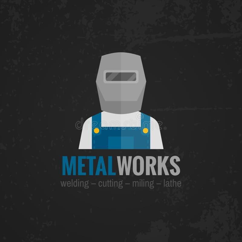 Lägenhet för Metalworkingsymbolsaffisch royaltyfri illustrationer