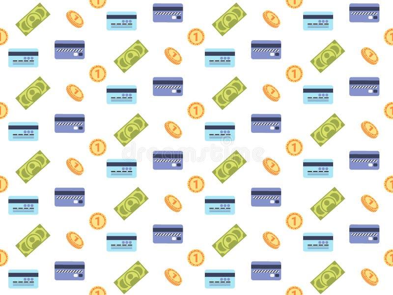 Lägenhet för modell för guld- för mynt för kreditkort för pengarkassasedlar betalning för symbol finansiell sömlös vektor illustrationer