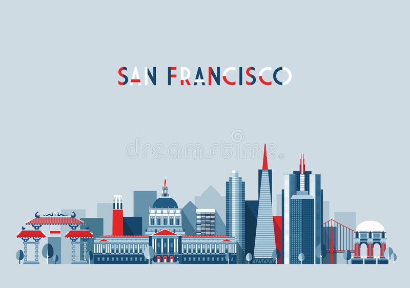 Lägenhet för San Francisco United States stadshorisont vektor illustrationer