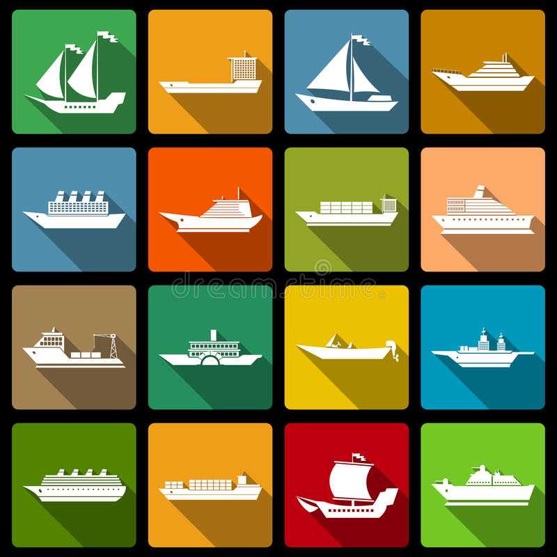 Lägenhet för skepp- och fartygsymbolsuppsättning stock illustrationer
